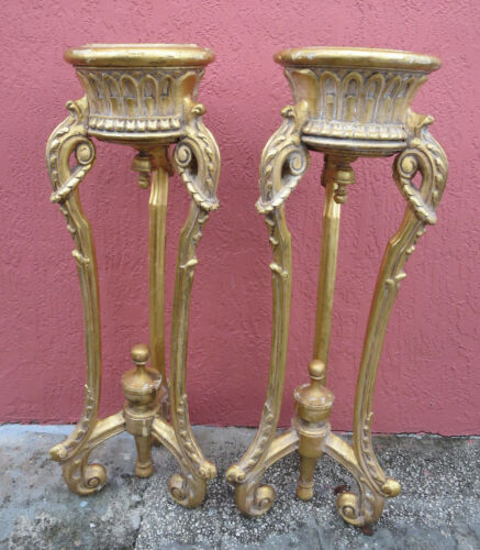PAIR OF ANTIQUE FRENCH WOOD GOLD GILT ORNATE PEDESTAL JARDINIERE PLANT STAND