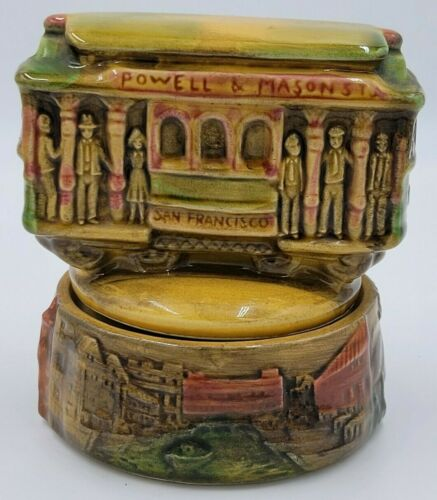 Powell & Hyde - Vintage Porcelain San Francisco Trolley Moving Music Box