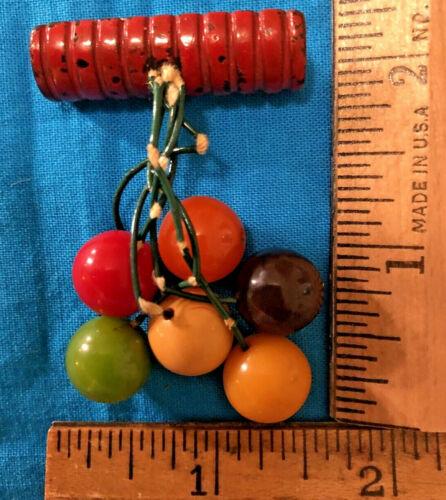 "Vintage Dangling Multi Color Bakelite Balls Pin Brooch,1.5"" x 2.5"", No Dir. Comp"