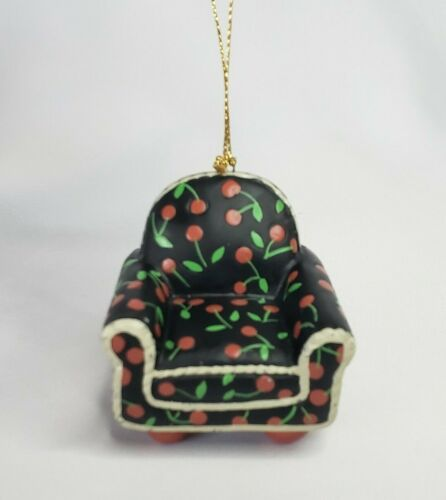"""Mary Engelbreit Vintage 1997 Resin Chair Ornament Black with Cherries 2.25"""""""