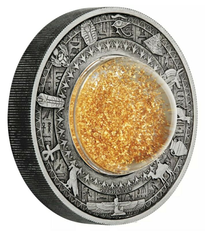 2019-P 2 Oz Silver $2 Tuvalu GOLDEN TREASURES OF ANCIENT EGYPT MS70 FS Coin.