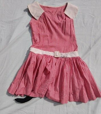 VINTAGE 1970's WOMENS SMALL RETRO MINNIE MOUSE DRESS COSTUME TAIL EARS HALLOWEEN