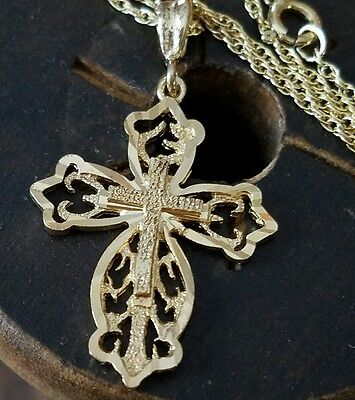 """Vintage Gold On Sterling Silver 925 Religious Cross Pendant  On 18"""" Chain"""