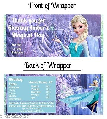 6 Disney Frozen Hershey Candy Bar Label Wrapper Party Favor Personalized - Frozen Favor
