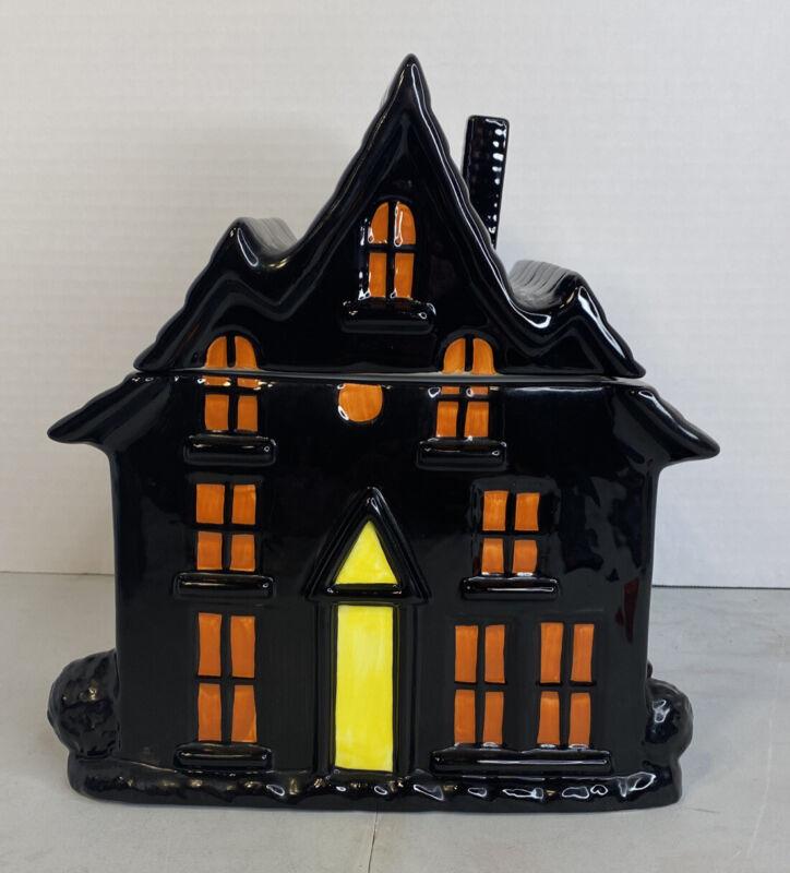 Sakura Table Halloween Haunted Hideaway Ceramic Cookie Jar Black Orange Spooky
