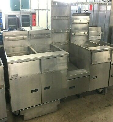 Pitco Sgh50 Used Gas Frying System 50lb Capacity Fryer 3 Well With Dump Station