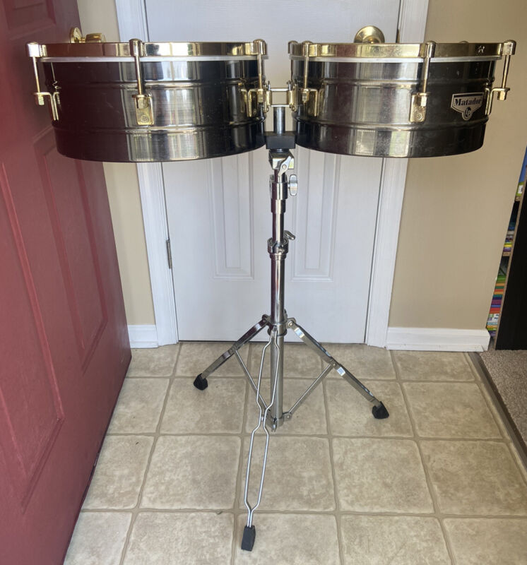 LP Matador 14 & 15 Inch Timbales - Brushed Nickel Latin Percussion With Stand