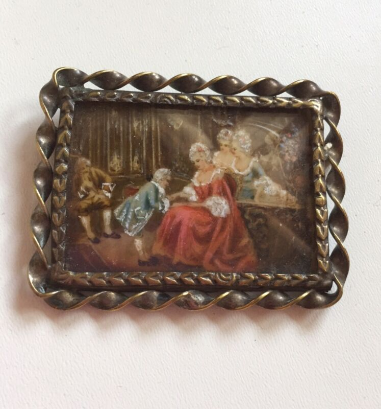 Antique Miniature Brooch Painted Hand Brooch Painted by Hand