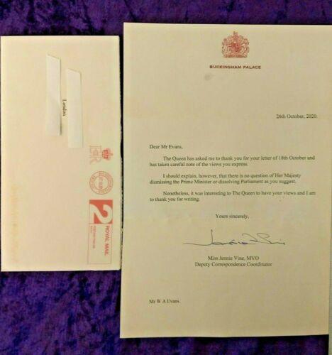 Interesting 2020 signed Queen Elizabeth II letter on dissolving parliament