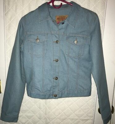Womens Abercrombie And Fitch Hollister Light Blue Jean Denim Jacket Size Medium