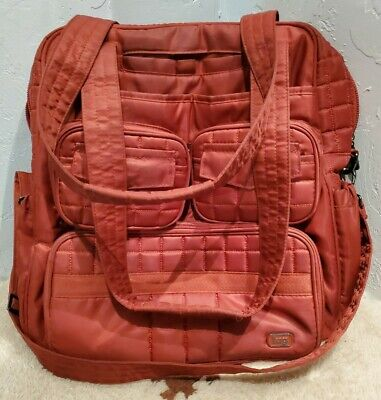 Lug Puddle Jumper Orange Quilted Overnight Gym Travel Tote Diaper Carry On Bag