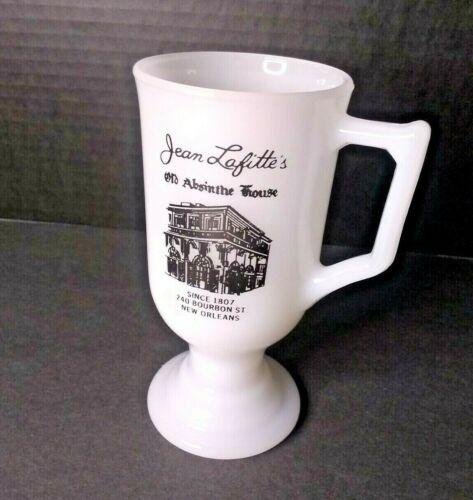 """Vintage Milk Glass Pedestal Mug """"Jean Lafitte"""