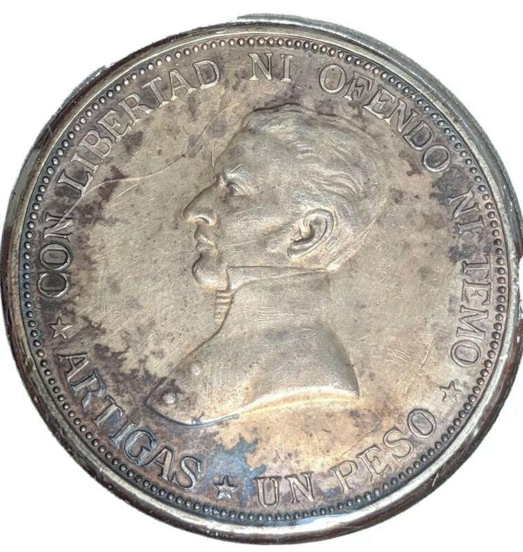 1917 Uruguay UNC Silver Peso