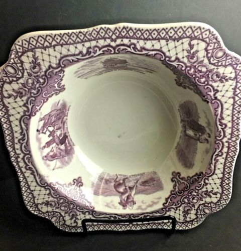 Crown Ducal Colonial Times Serving Bowl Landing of Pilgrims Mulberry