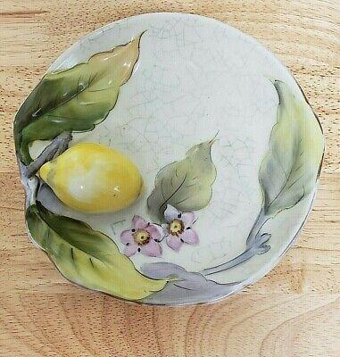 Antique Noritake Hand Painted Raised 3D Lemon Blossom Lusterware Bowl Dish Japan