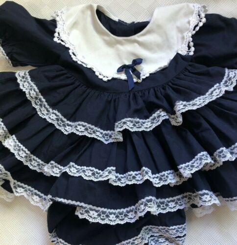 Vintage Lilo Circle Ruffle Dress with Bloomers Navy Blue