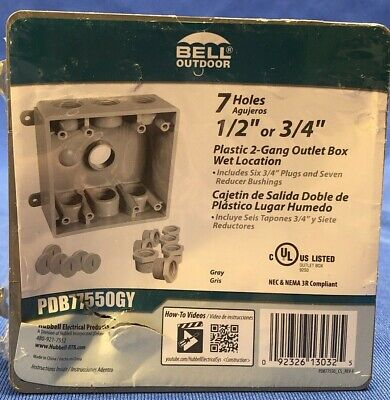 Bell 2-gang Gray Weatherproof Box With Seven 12 In. Or 34 In. Outlets
