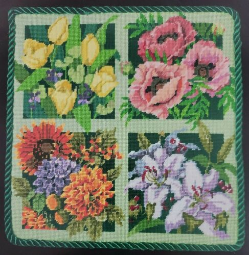 Floral Needlepoint Kit Bucilla Pillow Four Seasons Multi Color Wool Nancy Rossi