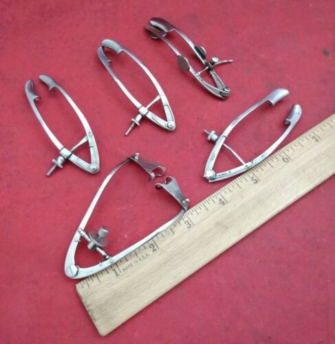 Lot Of 5 Assorted Eye Speculums / Stainless Steel / Germany / Medical