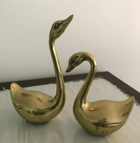 2 Vintage Solid Brass Swan Figurine Paperweight  Made In Korea