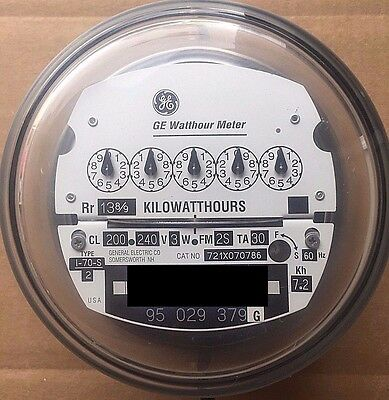 General Electric Watthour Meter Kwh I-70s 240v Fm2s 200a 4 Lug Zero Reset