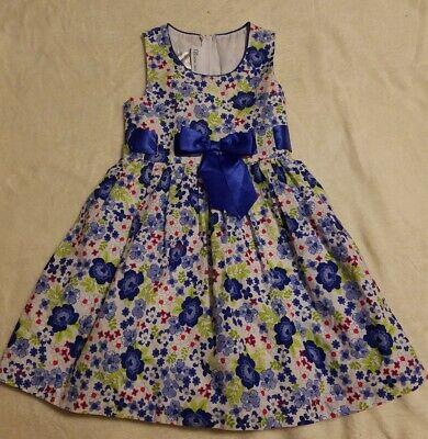 Bonnie Jean Girls Dress Size 5 White Floral Sleeveless Slip Back Zipper (H125)