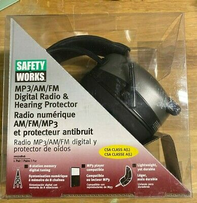 Safety Works Hearing Protector Headphones Digital Radio Mp3amfm 10121816