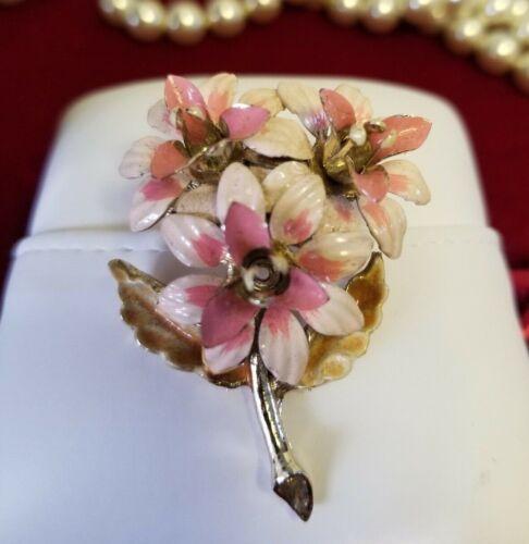 Vintage 3 Pink Flower Bouquet Enamel Brooch Pin