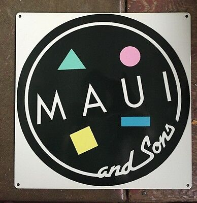 Maui & Sons And Surf Surfboard Surfing Logo Poster Metal Sign Sharkman 80's CA