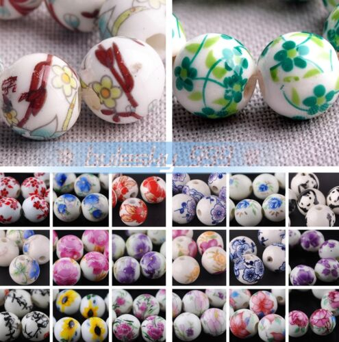 Beads - 10pcs Round Ceramic Porcelain Charm Loose Spacer Big Hole Beads Jewelry Findings