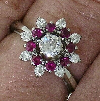 "Used, ANTIQUE DIAMOND Engagement~Diamond RUBY RING ""JABEL""18k WHITE GOLD, Circa 1920 for sale  Los Angeles"
