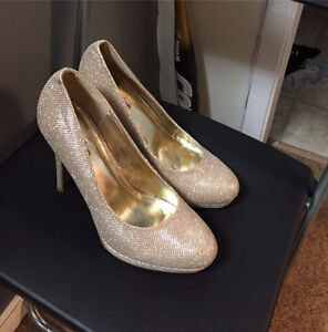 Bella Marie Sparkly Gold Pumps