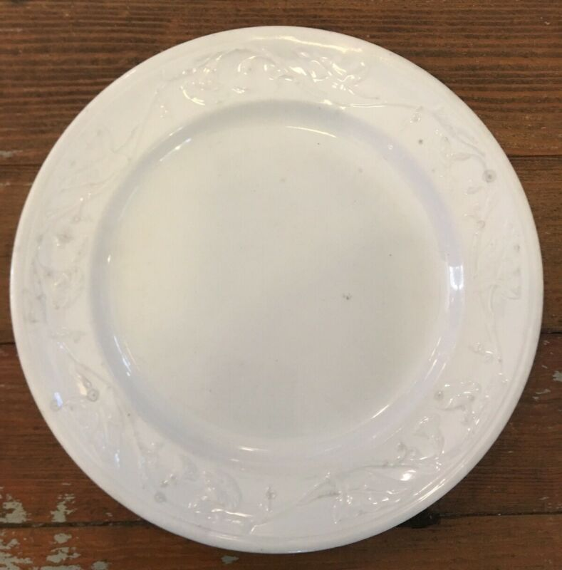 "VINTAGE ANTIQUE White IRONSTONE 9"" Plate Morning Glory Farmhouse"