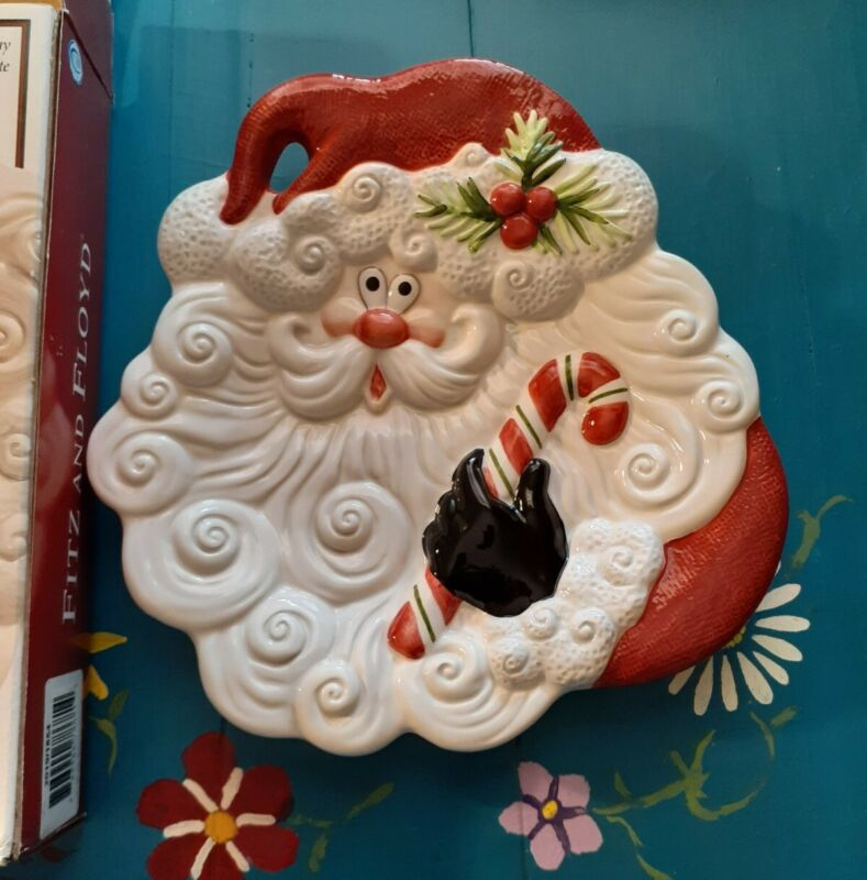 Fitz and Floyd Christmas Canape Plate w/box