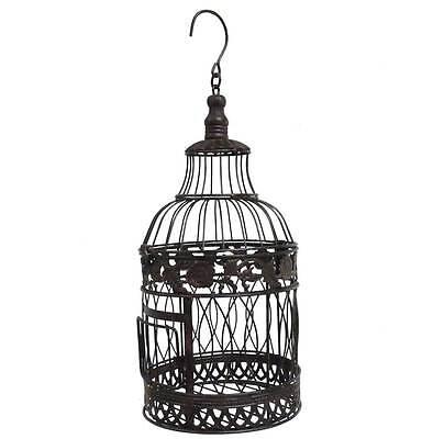 style ancienne cage a oiseau fer a suspendre avec crochet ronde marron 39cm