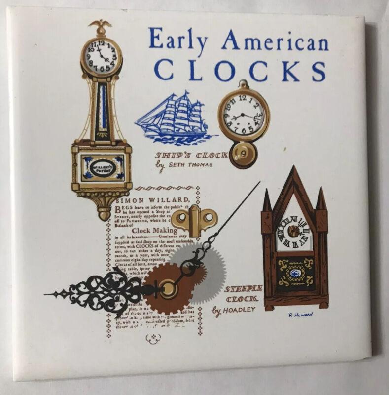 Early American Clocks Trivet Ceramic Accent Wall Tile 6x6 Screen Craft AA