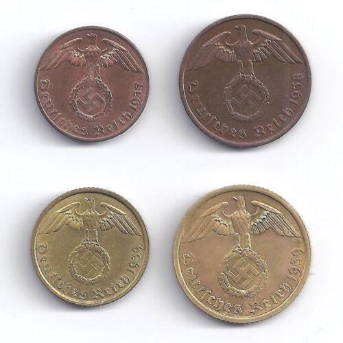 Germany WWII Coin Set 1, 2, 5, 10 Reichspfennig 1936 - 1940