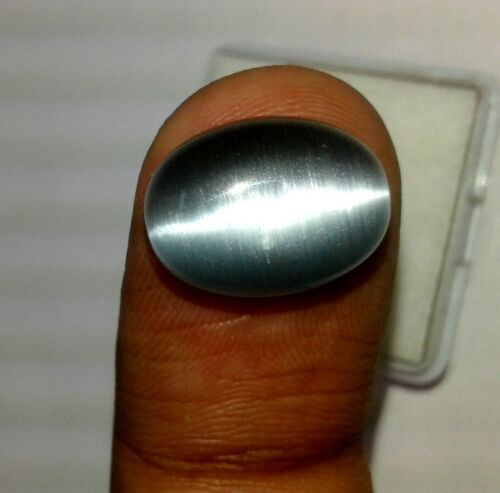 10.10 Cts Natural Chrysoberyl Cats Eye Silver Color Oval Cabochon Gemstone