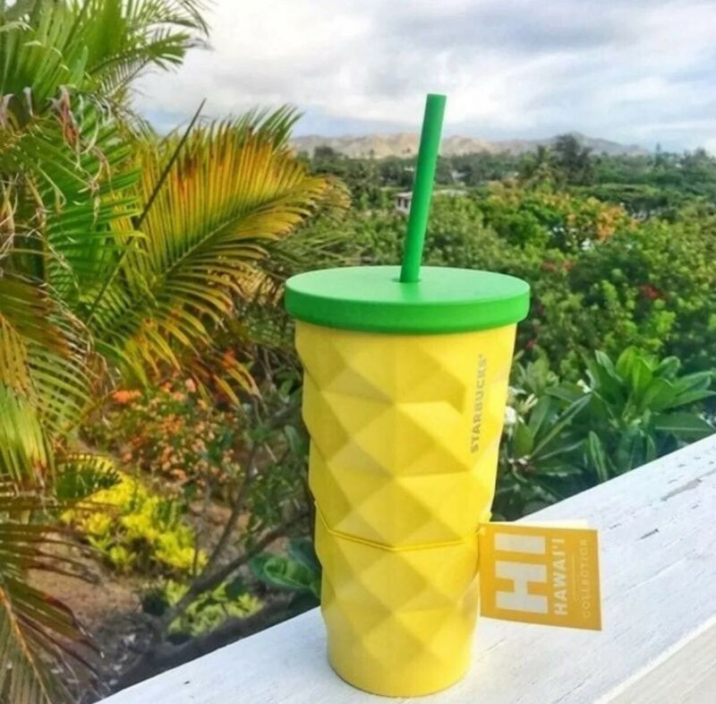 Starbucks 2016 Hawaii Pineapple Tumbler Grande Metal 16 oz 100% New