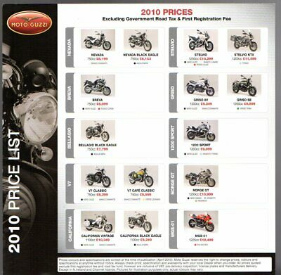 Moto Guzzi Price List 2010 UK Market Leaflet Brochure