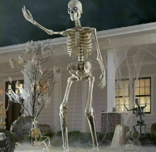 12 ft Skeleton Huge with Animated Eyes Halloween Yard Decor Timer Giant Foot