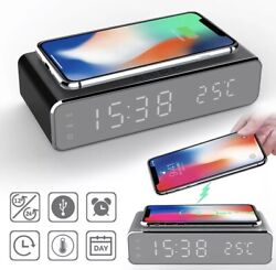 USB Digital LED Desk Alarm Clock With Thermometer Wireless Charger For Samsung