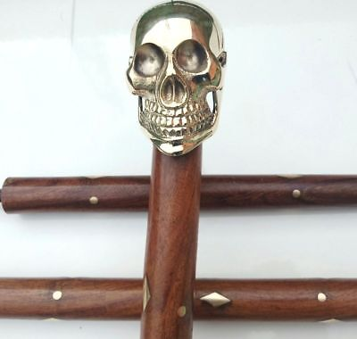 Victorian Skull Brass Handle Antique Wooden Walking Stick Vintage Nautical Canes