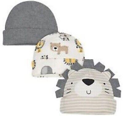 GERBER NEWBORN BABY BOY'S 3-Pack Organic Cotton Caps Hats -