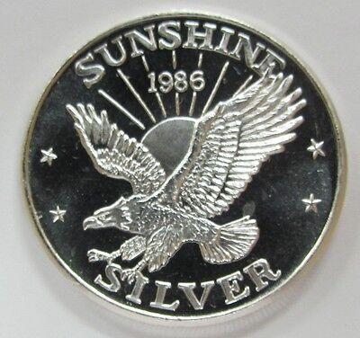 1986 Sunshine Mining 1Oz   999 Fine Silver Art Round    Proof Like