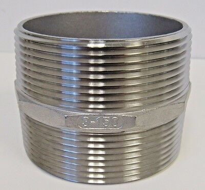 New 3 Inch X Close Mnpt Straight Hex Nipple 304 Stainless Steel 150 Nib
