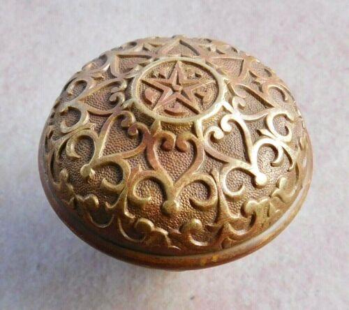 Antique door knob Mallory Wheeler Star Patent Mark 1874 bronze brass K-11403