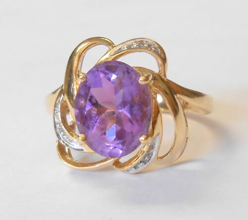 10x8 Amethyst Diamond Accent 14K Yellow Gold Ring Knot Bow Size 7.25