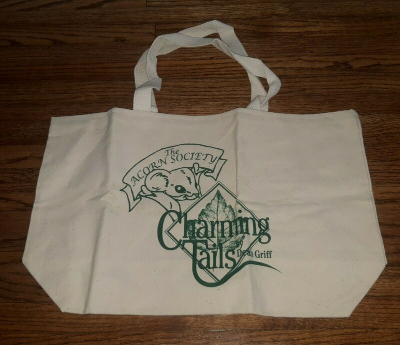 NEW UNUSED Charming Tails Dean Griff Acorn Society Retired CLUB canvas TOTE BAG