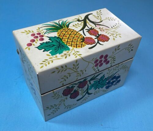 Recipe Box Full of Clipped and Handwritten Recipes Vintage Chein, Fruit Design